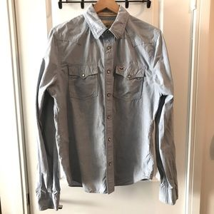 American Eagle Snap Button Long Sleeve Shirt Large